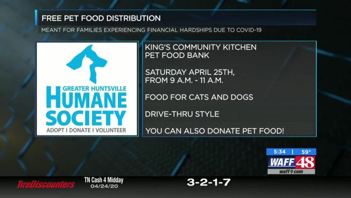 Greater Huntsville Humane Society offering free pet food