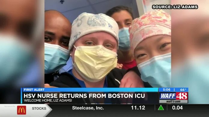 Huntsville nurse treating COVID patients in Boston returns home