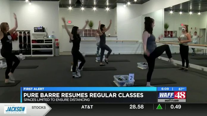 Pure Barre Huntsville limiting class size to 9 for social distancing