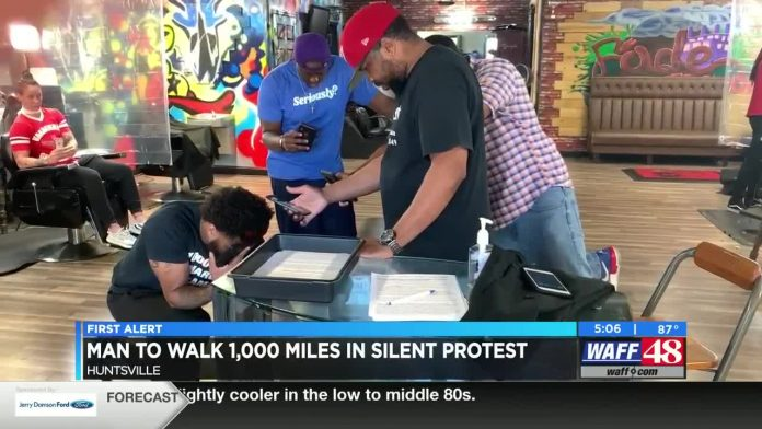Man walking from Huntsville to Minnesota in silent protest for George Floyd