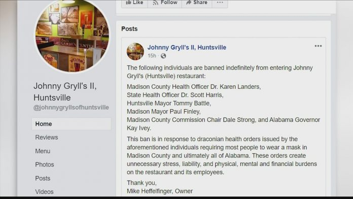 Johnny Gryll's in Huntsville facing backlash after viral Facebook post
