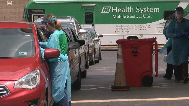 Hundreds line up in North Huntsville for coronavirus testing