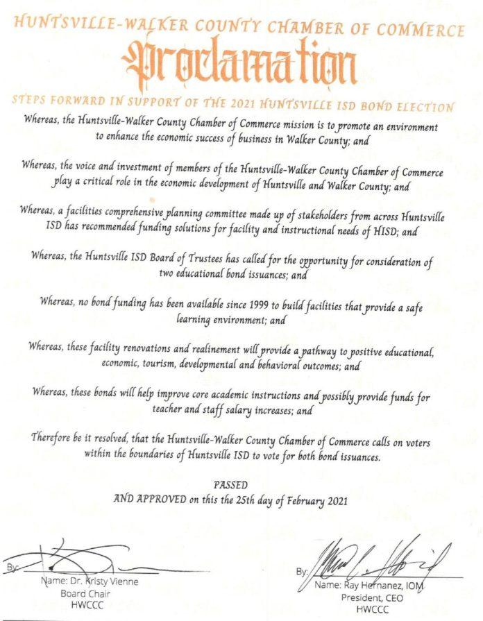 Huntsville-Walker County Chamber of Commerce publicly endorses Huntsville ISD bond